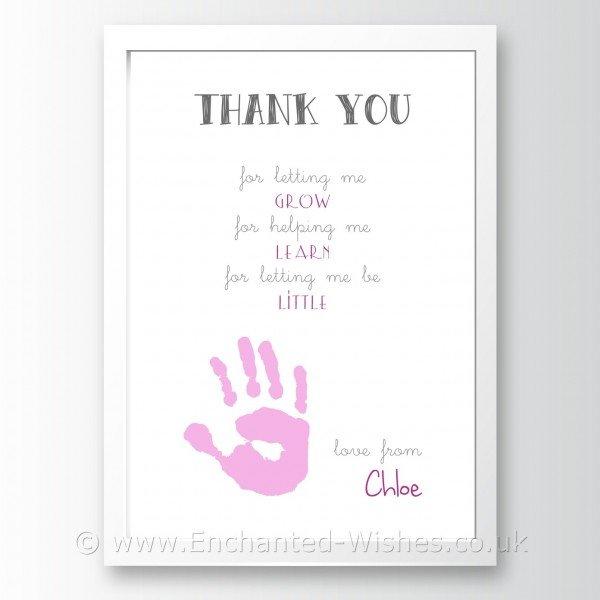 thank you print hand print art childminder nursery teacher