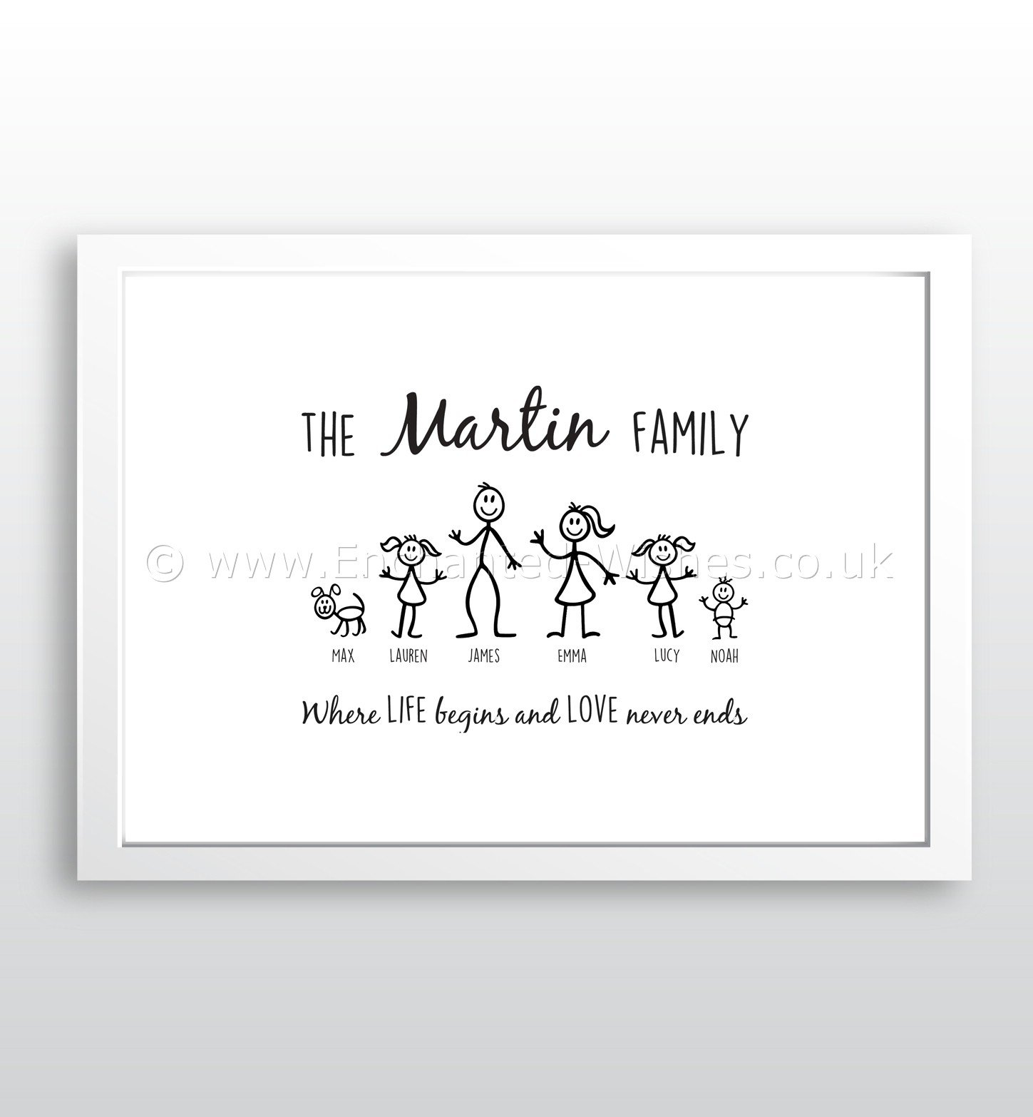 Personalised Stick Family Print | Personalised Prints and ...
