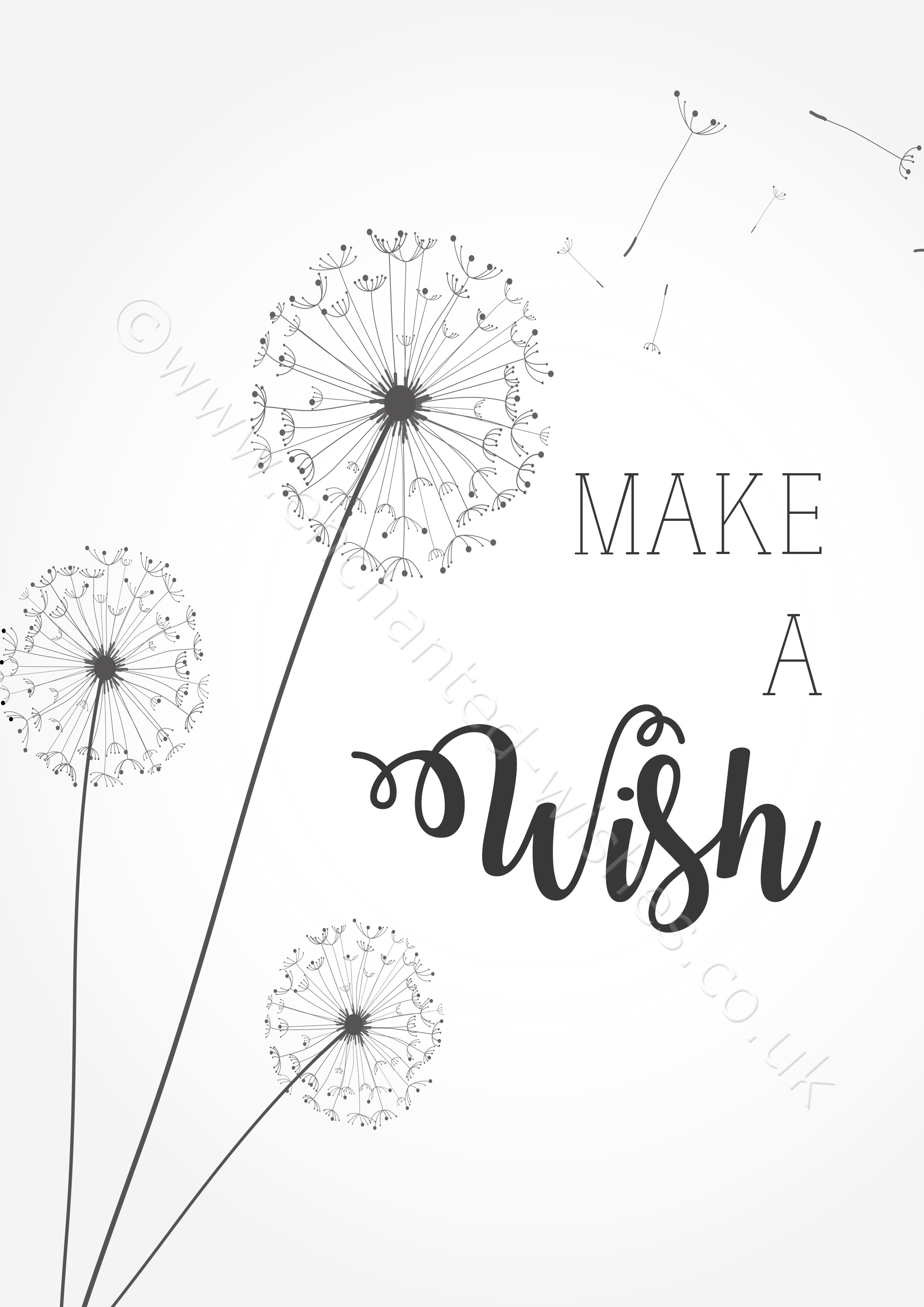 Make A Wish Quotes Make A Wish Quote Typography Dandelion Print  Personalised Prints