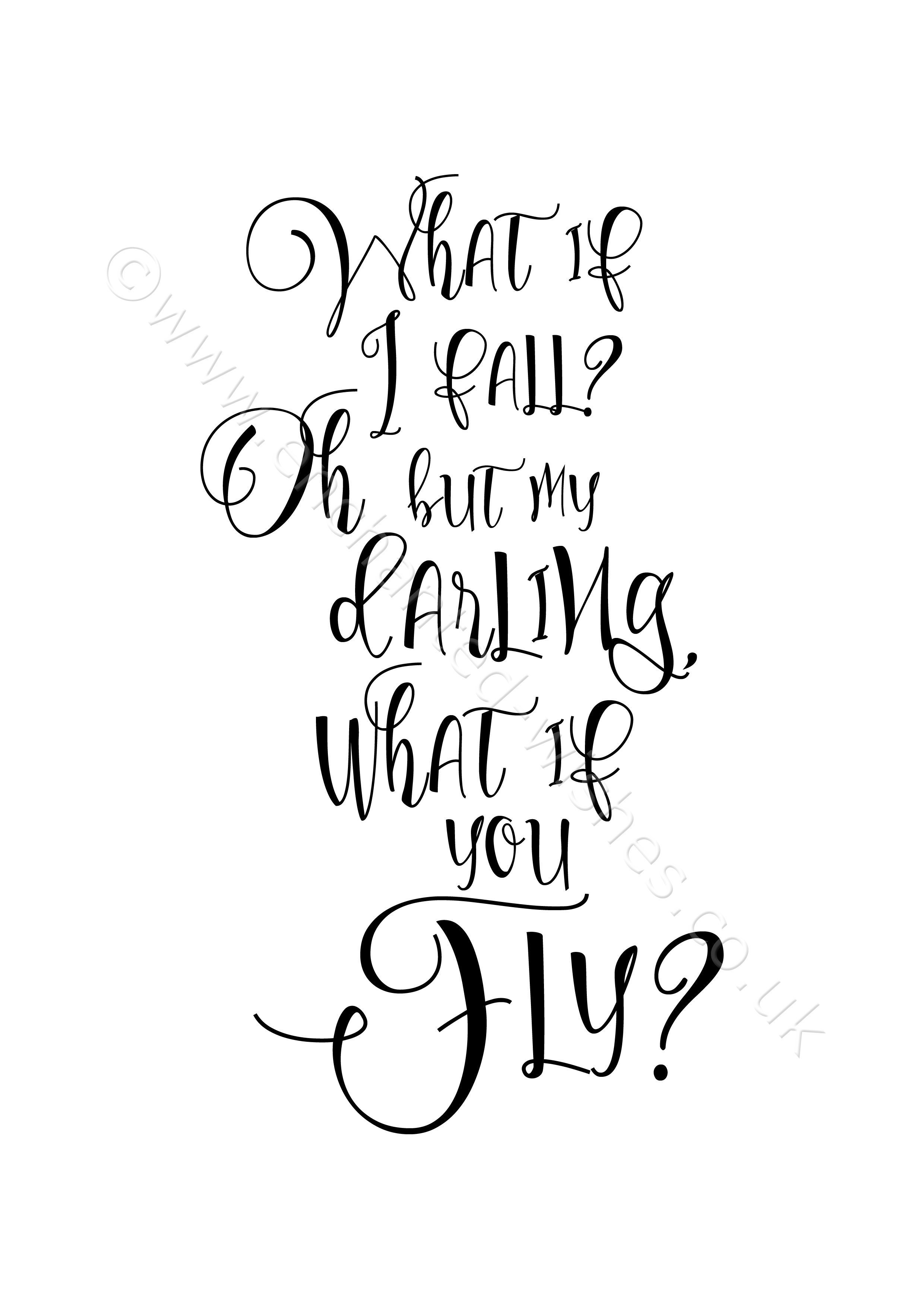 What If I Fall Quote Typography Print Art Prints Nursery Wall