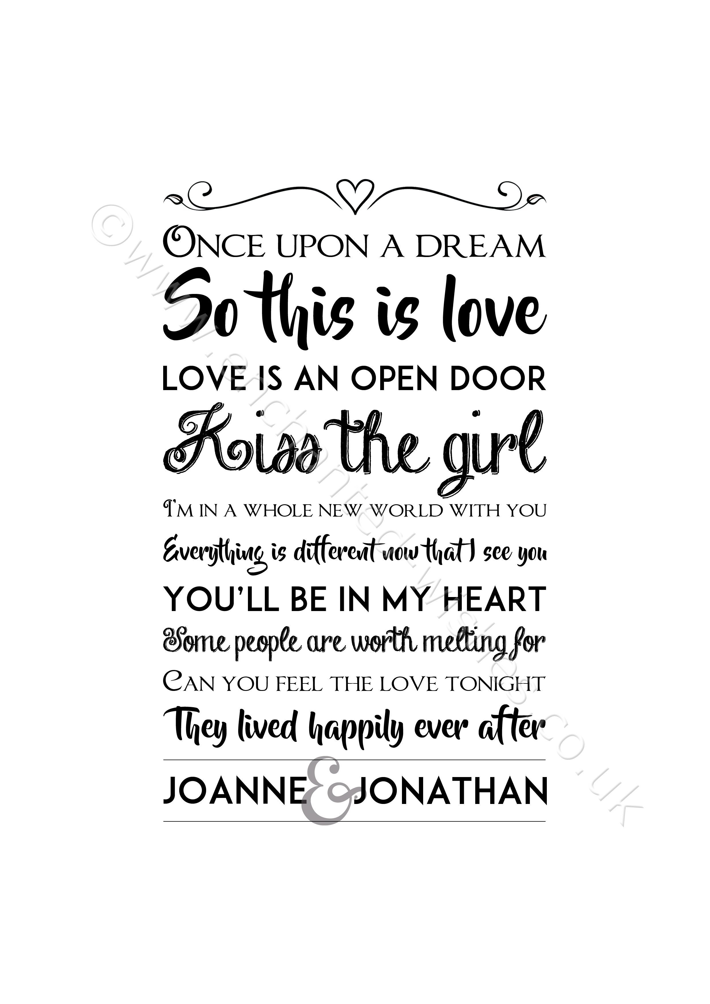 Personalised Disney Love Quotes Typography Print