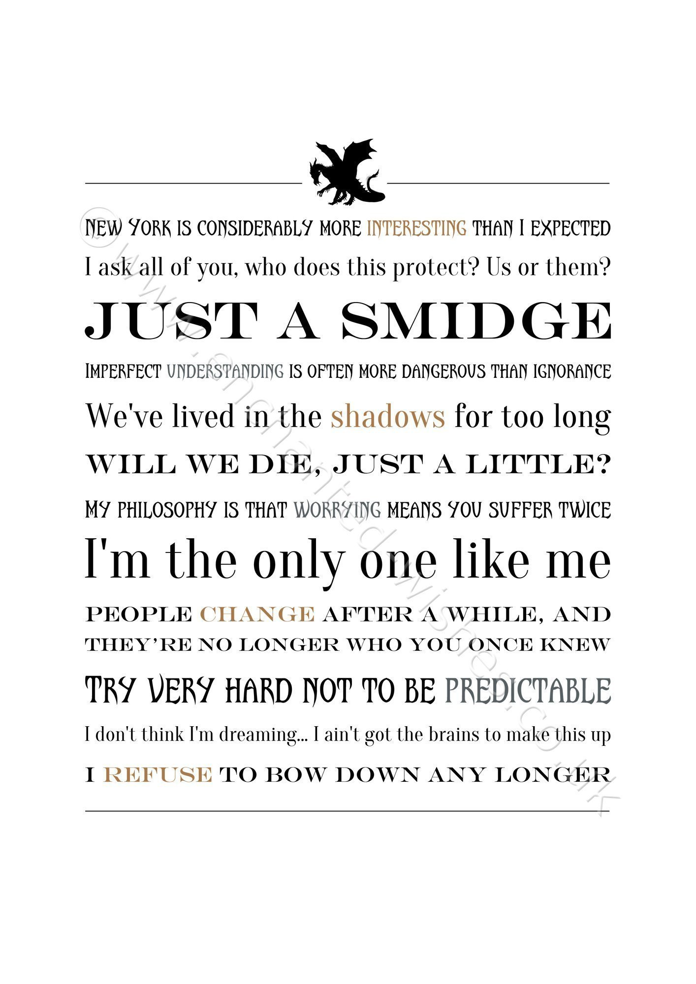 Fantastic Quotes Fantastic Beasts Movie Quotes Typography Print  Personalised