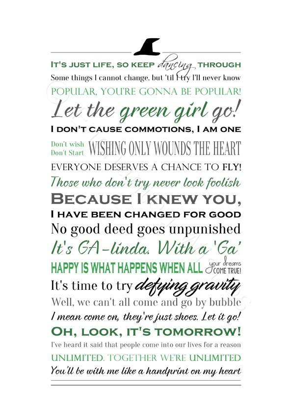 Wicked Musical Quotes / Lyrics Print