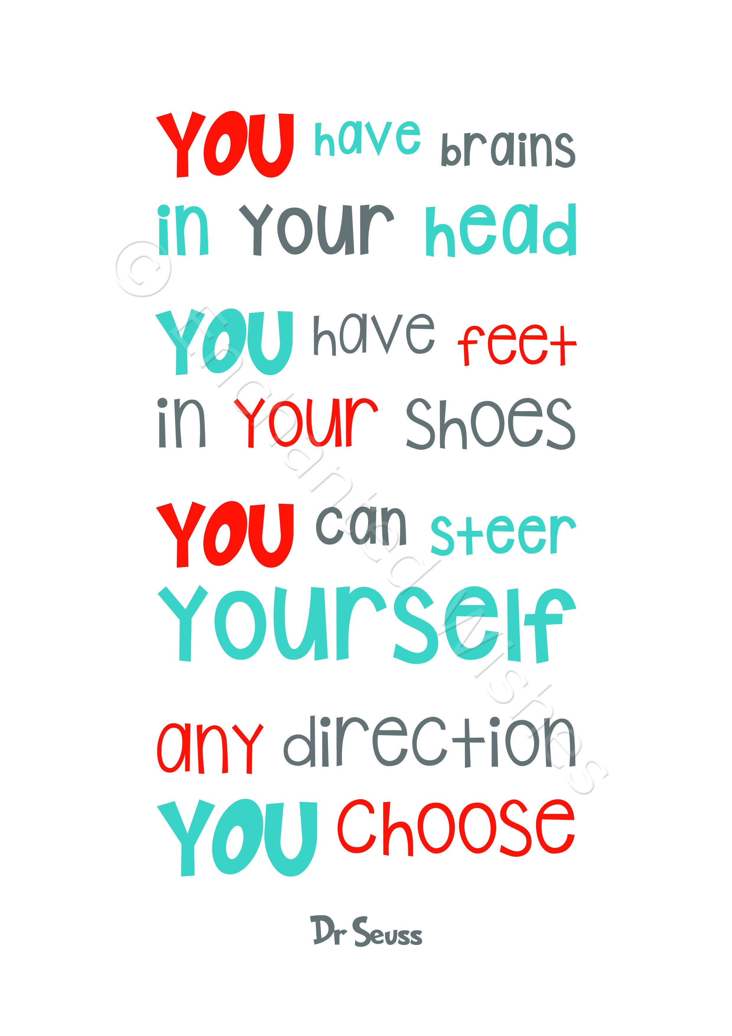 Dr Seuss Quotes - Set of 4 Prints