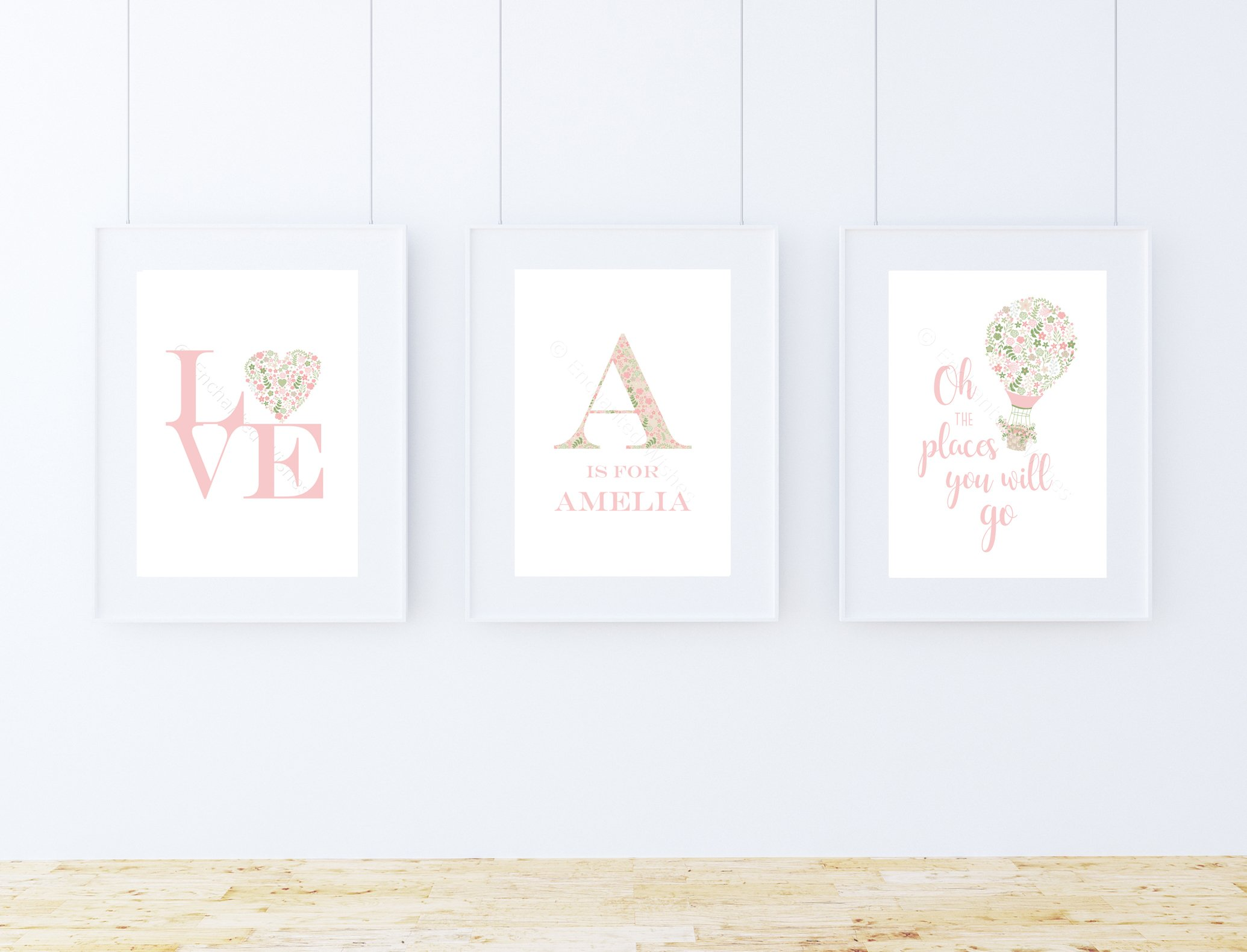 Pink floral nursery prints set trio nursery wall art personalised