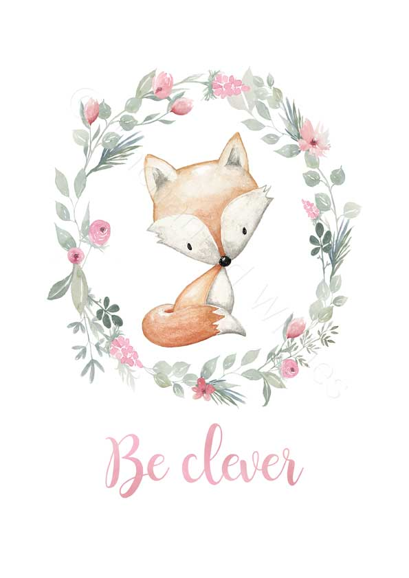 Floral Woodland Animals Nursery Print Boho Forest