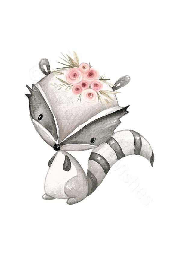 Raccoon Floral Woodland Animal Nursery Print Art Prints