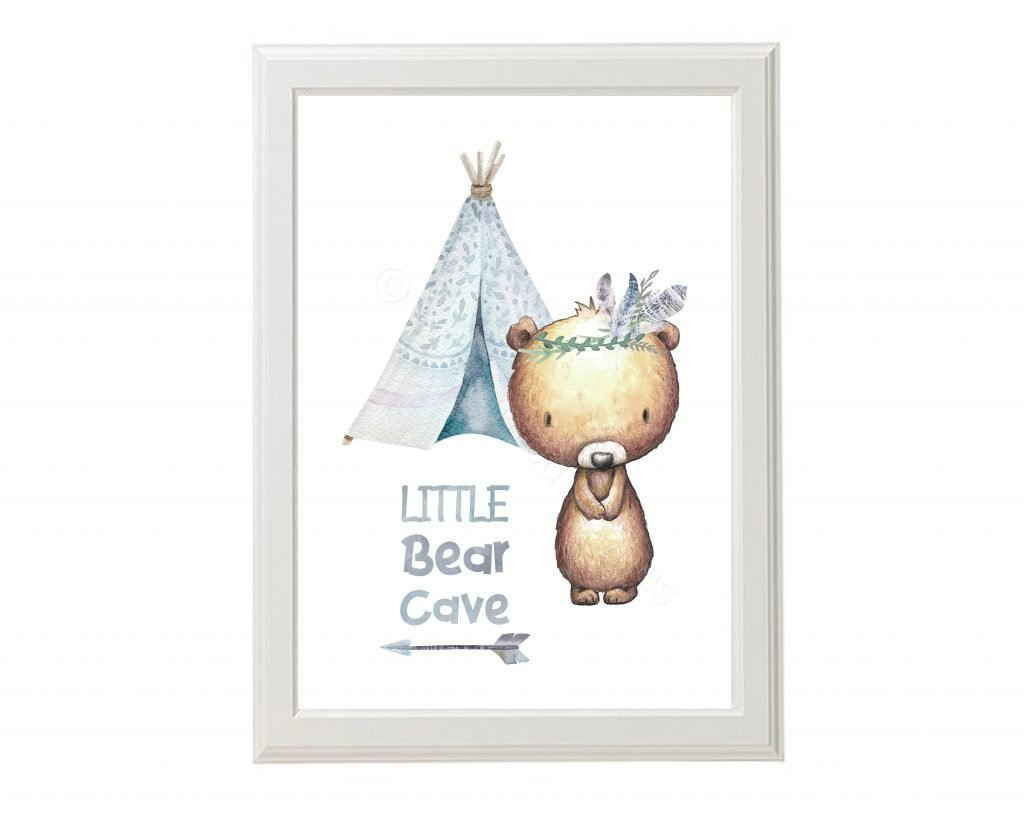 Little Bear Cave Nursery Print Tribal Animal Nursery Art