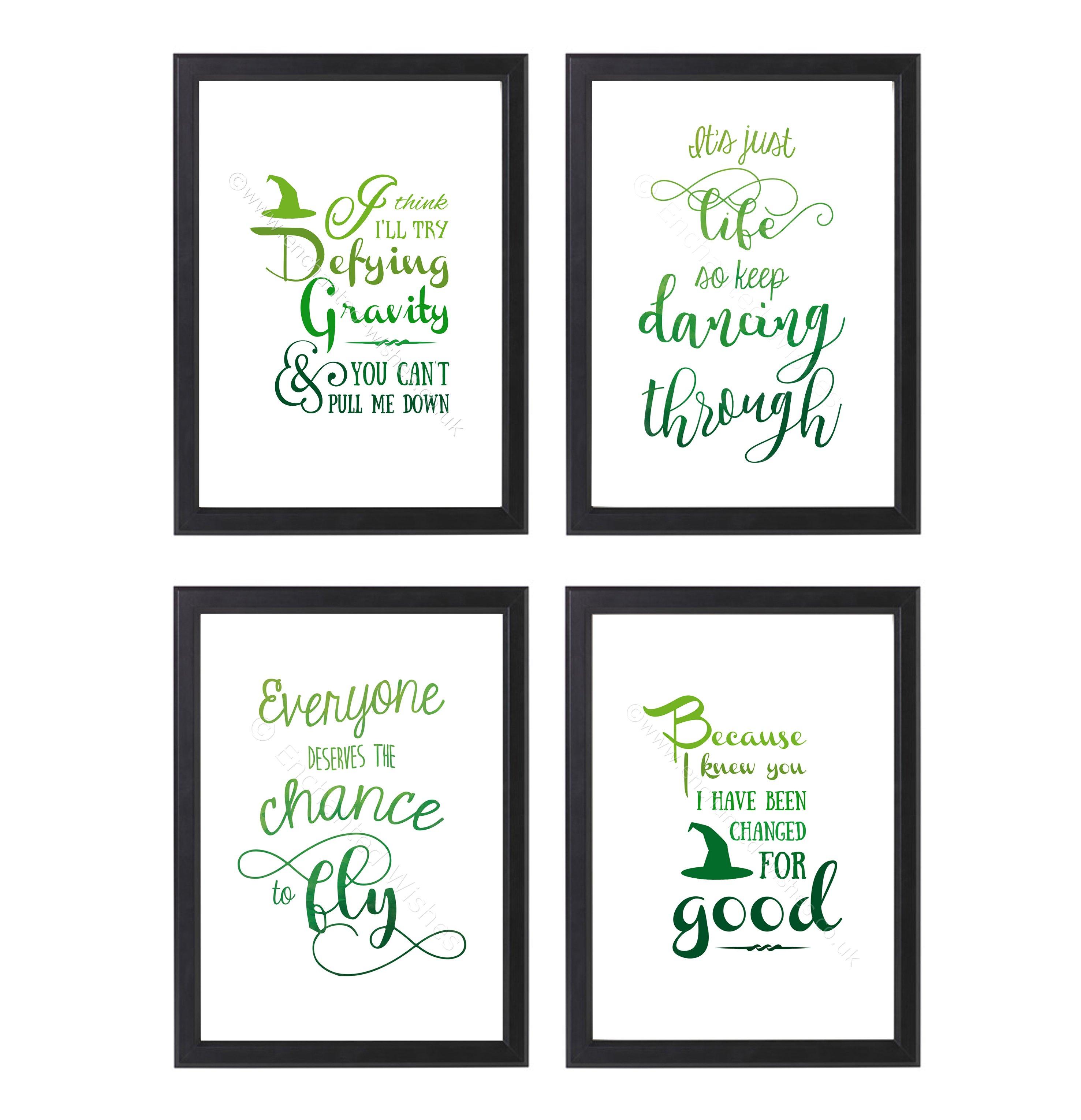 Wicked Musical Quotes Lyrics Set of 4 Prints