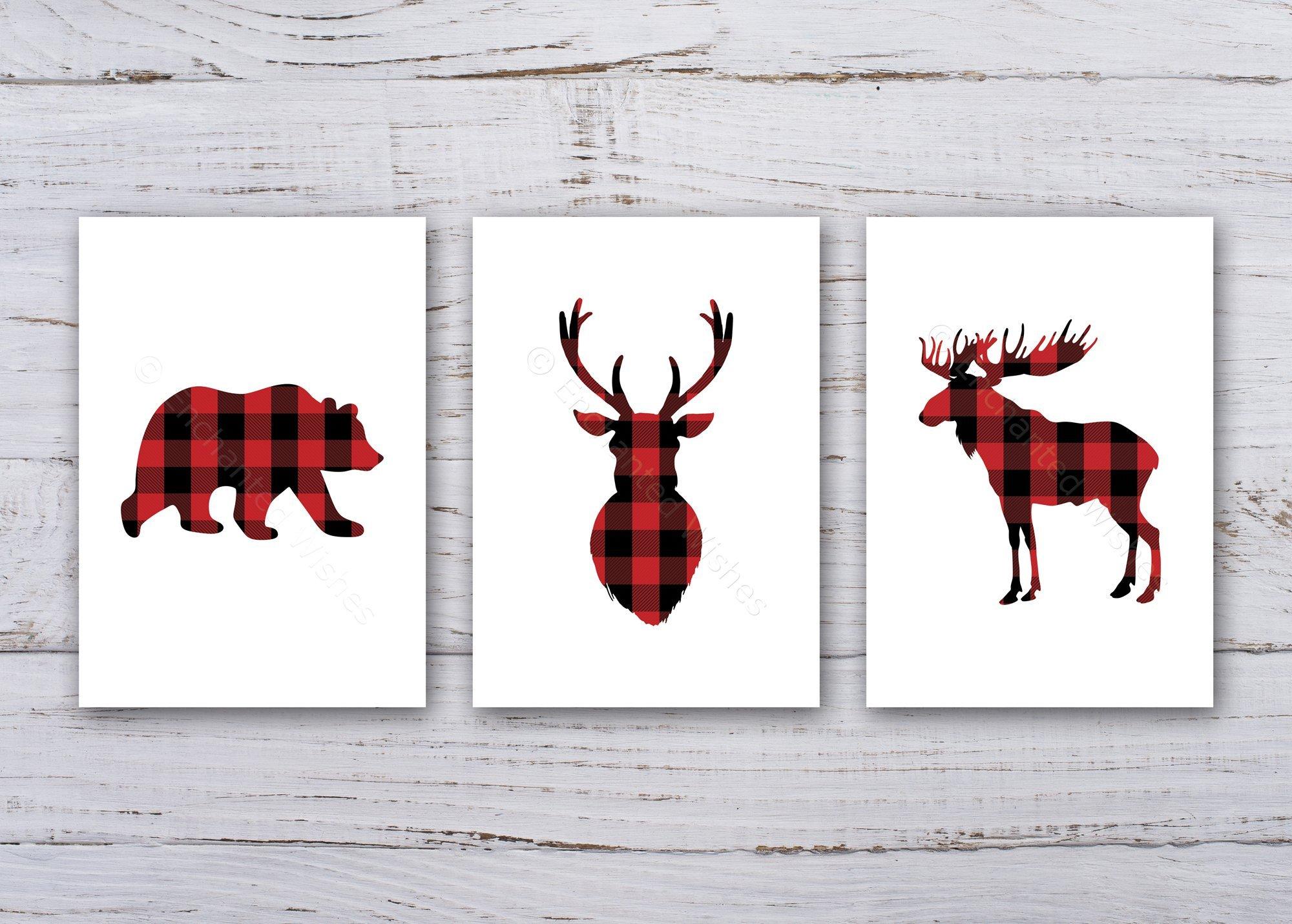 Plaid Tartan Wild Woodland Animals Set Of 3 Prints Art Prints Nursery Wall Art Quote Prints Enchanted Wishes
