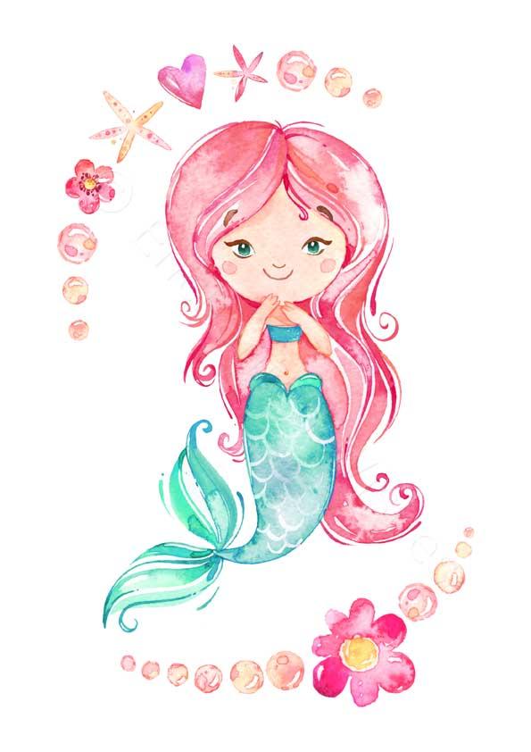 Mermaid Narwhal Unicorn Rainbow Prints Set Of 4 Art