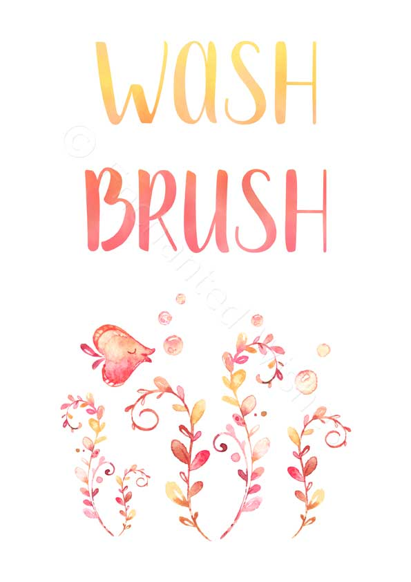 image about Wash Brush Floss Flush Free Printable named Mermaid Narwhal Clean Brush Floss Flush Print Fixed