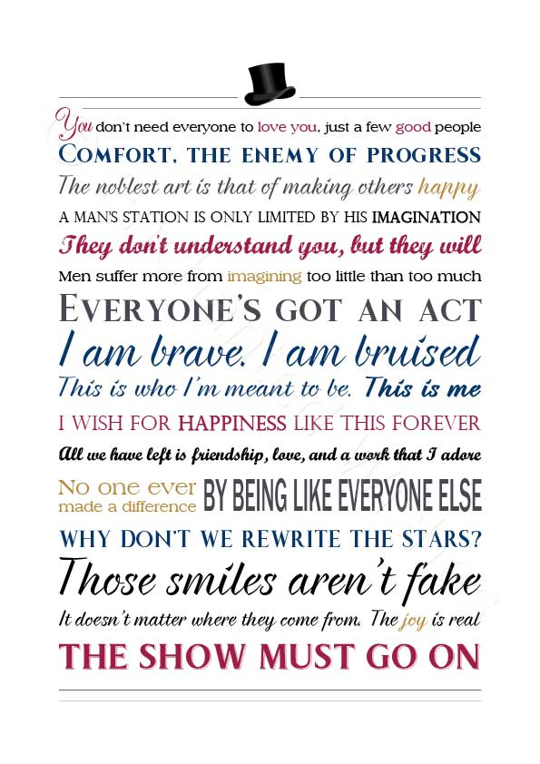 d999ae6ebac43 The Greatest Showman Movie Quotes Print