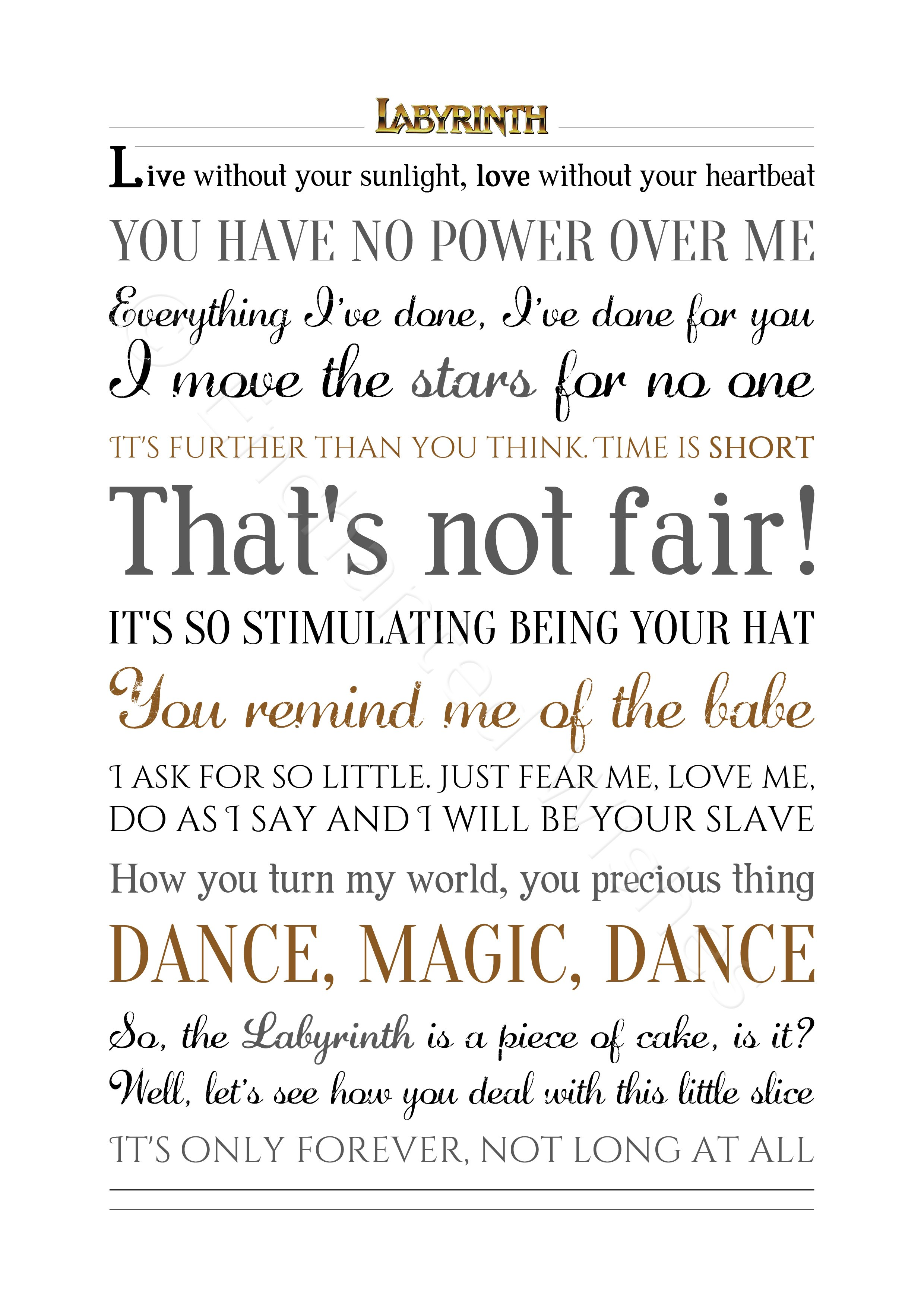 Labyrinth Movie Quotes Print | Personalised Prints and Art ... Labyrinth Movie Quotes