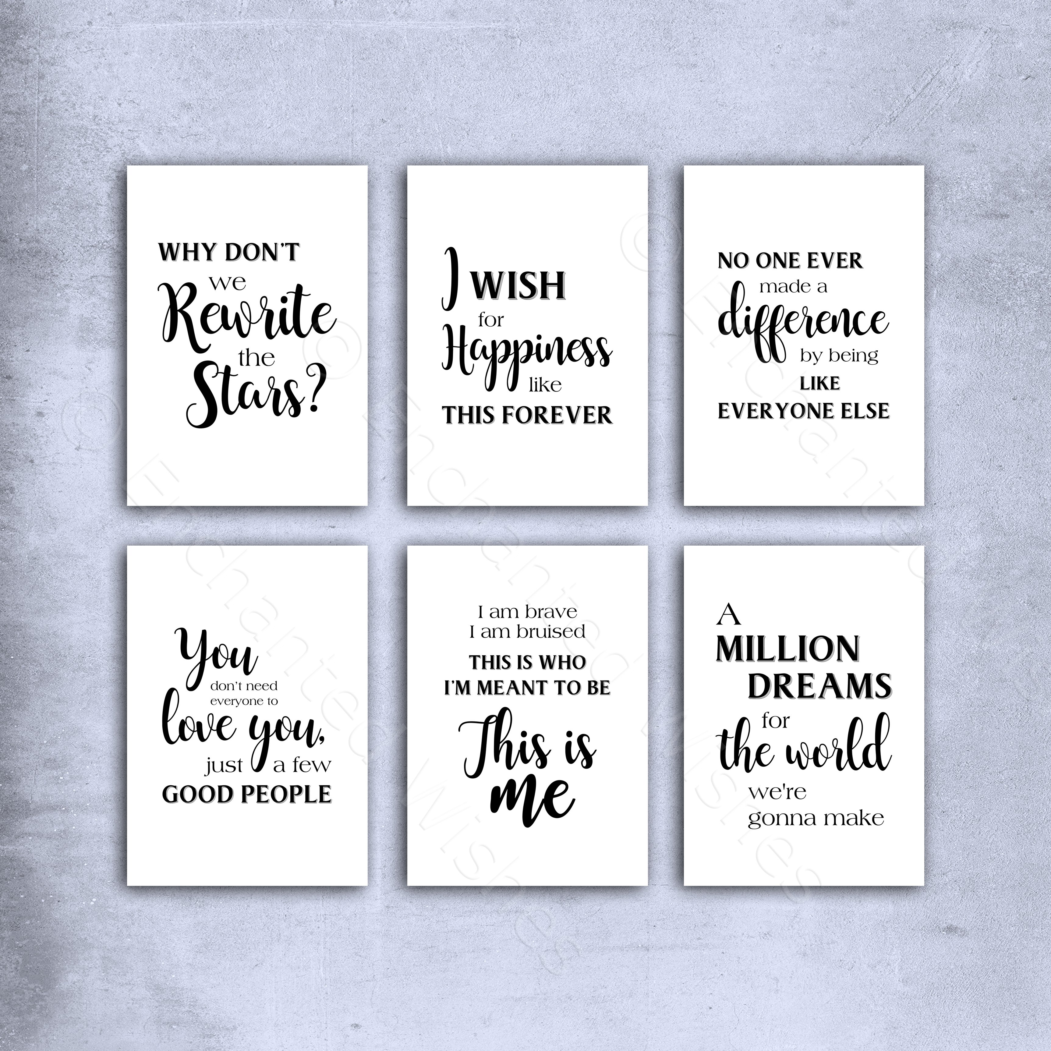 279e9ef45c28b The Greatest Showman Quotes Print Set of 6