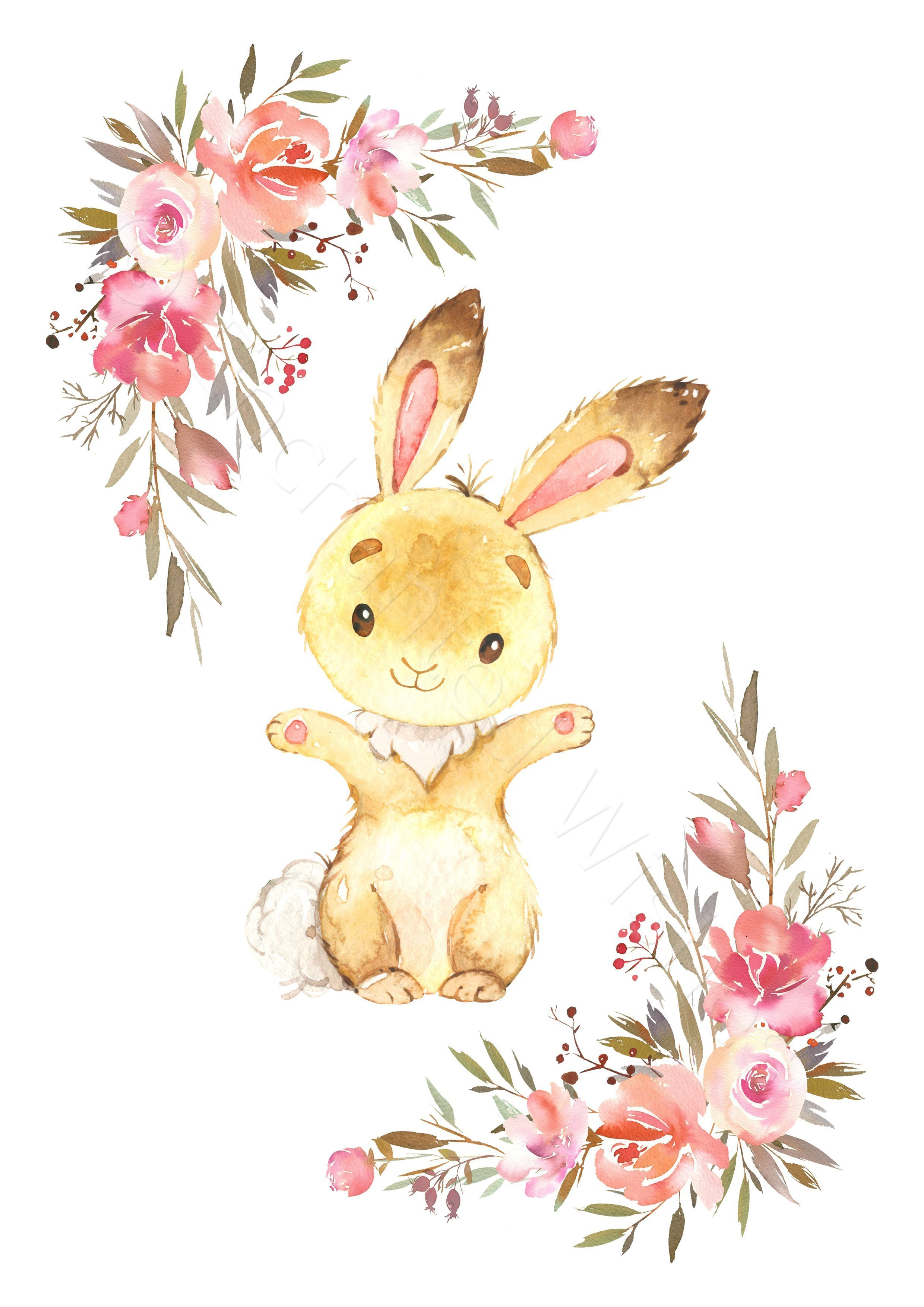 Floral Bunny Rabbit Print Set Cute Bunny Nursery Prints