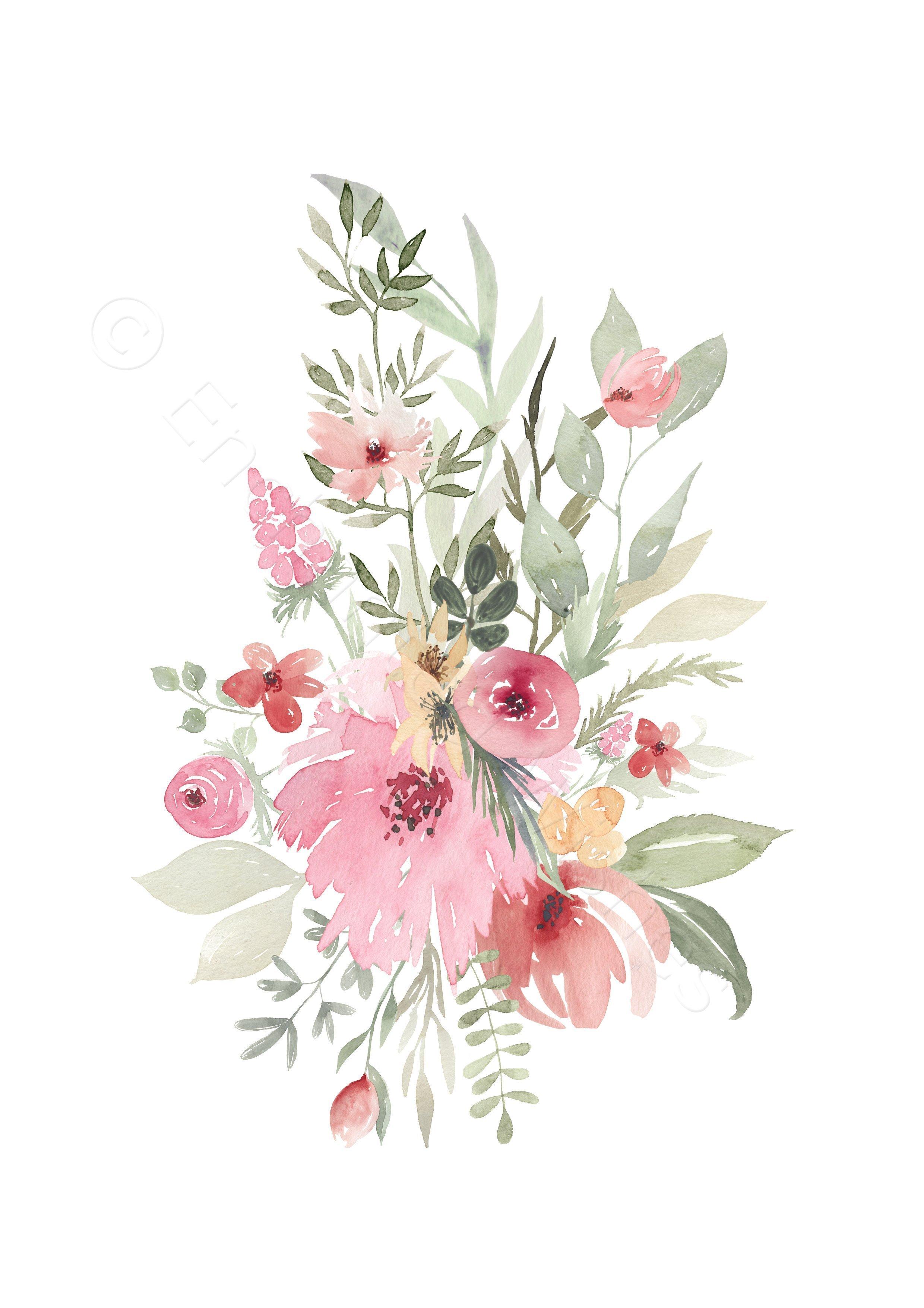 Set of 4 Pink & Gold Floral Nursery Prints | Art prints ...