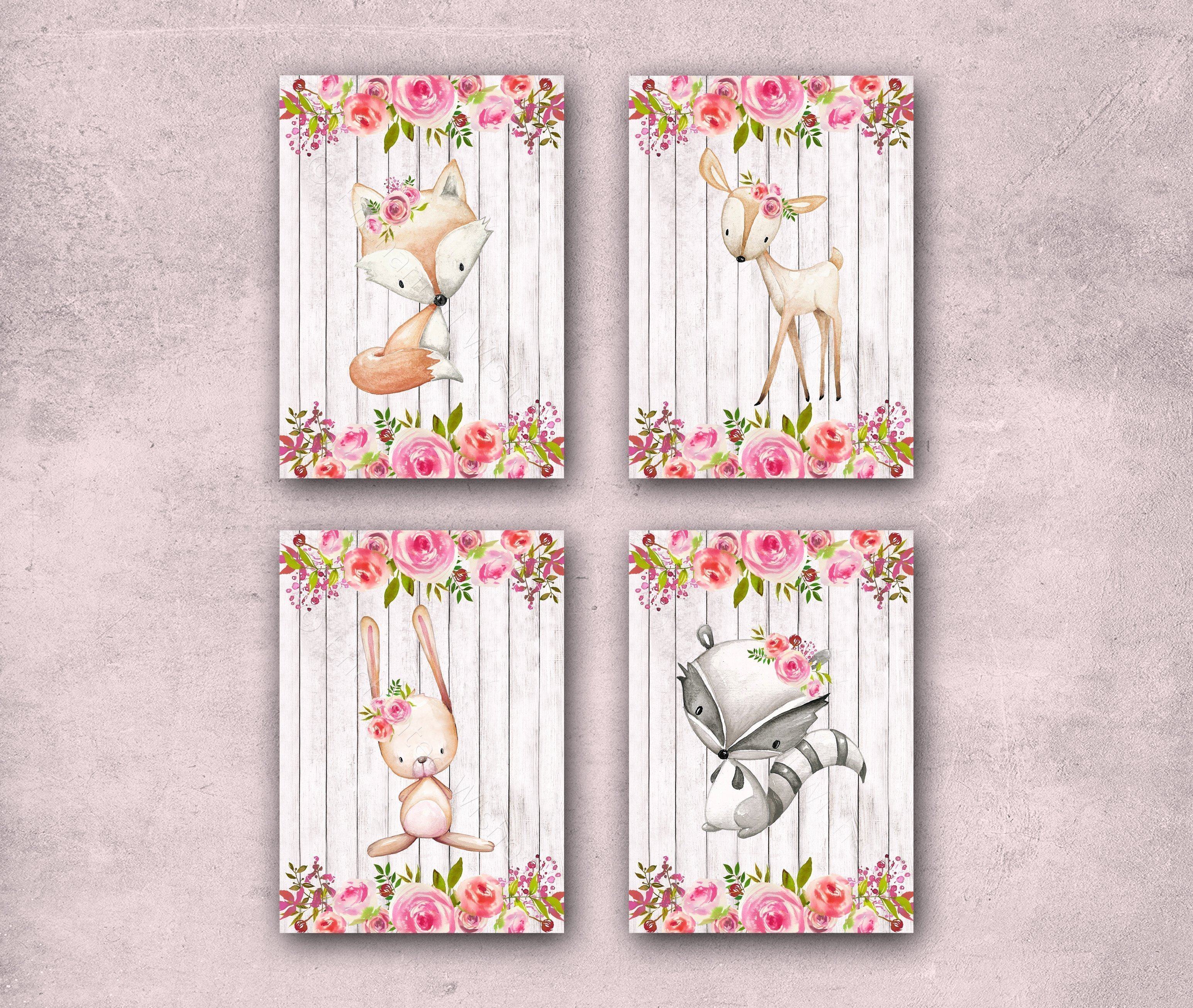 picture relating to Printable Woodland Animals titled Fastened of 4 Floral Woodland Animal Printables - Instantaneous Obtain