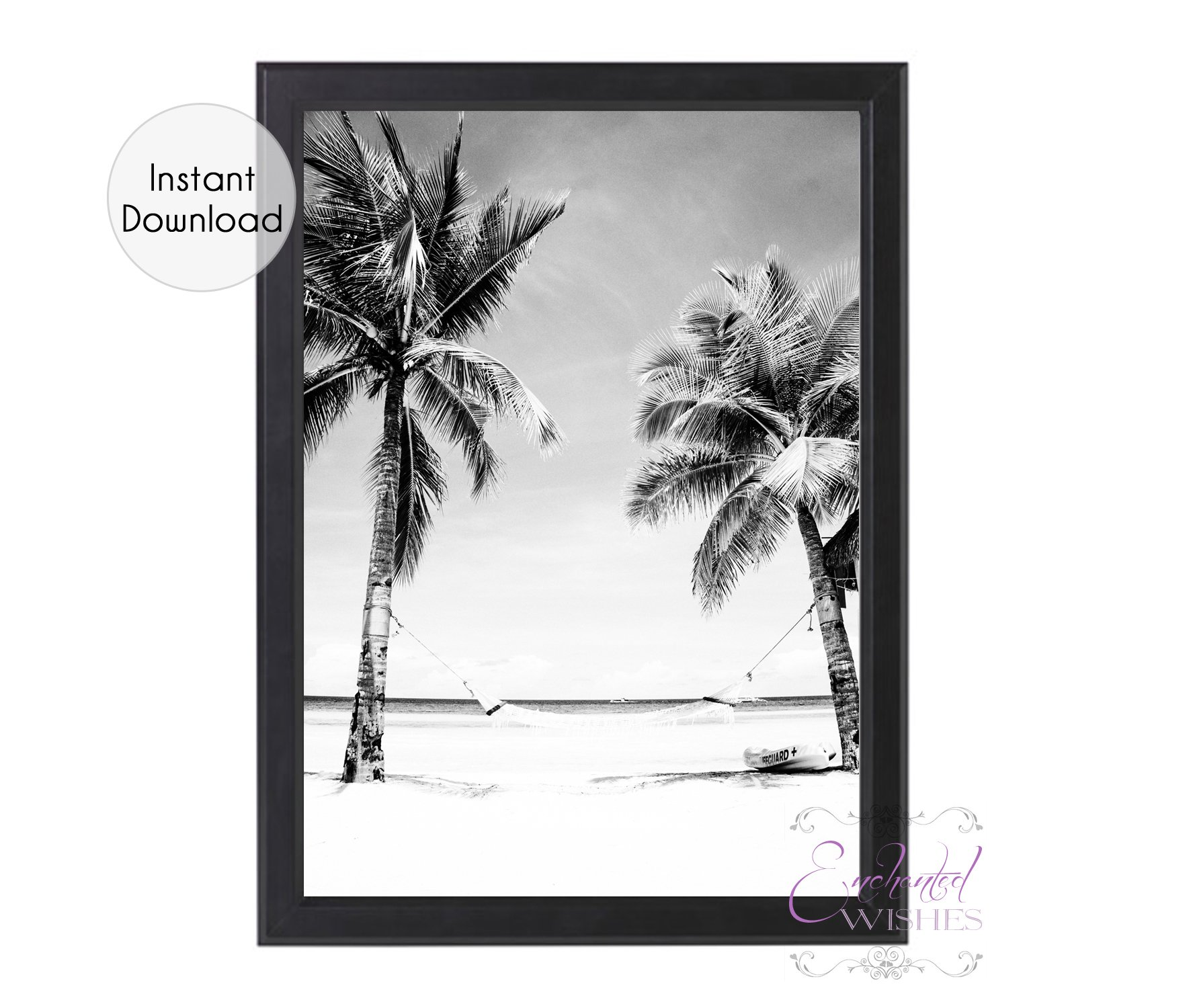 graphic about Palm Tree Printable titled Monochrome Palm Tree Seashore Print Printable - Immediate Down load