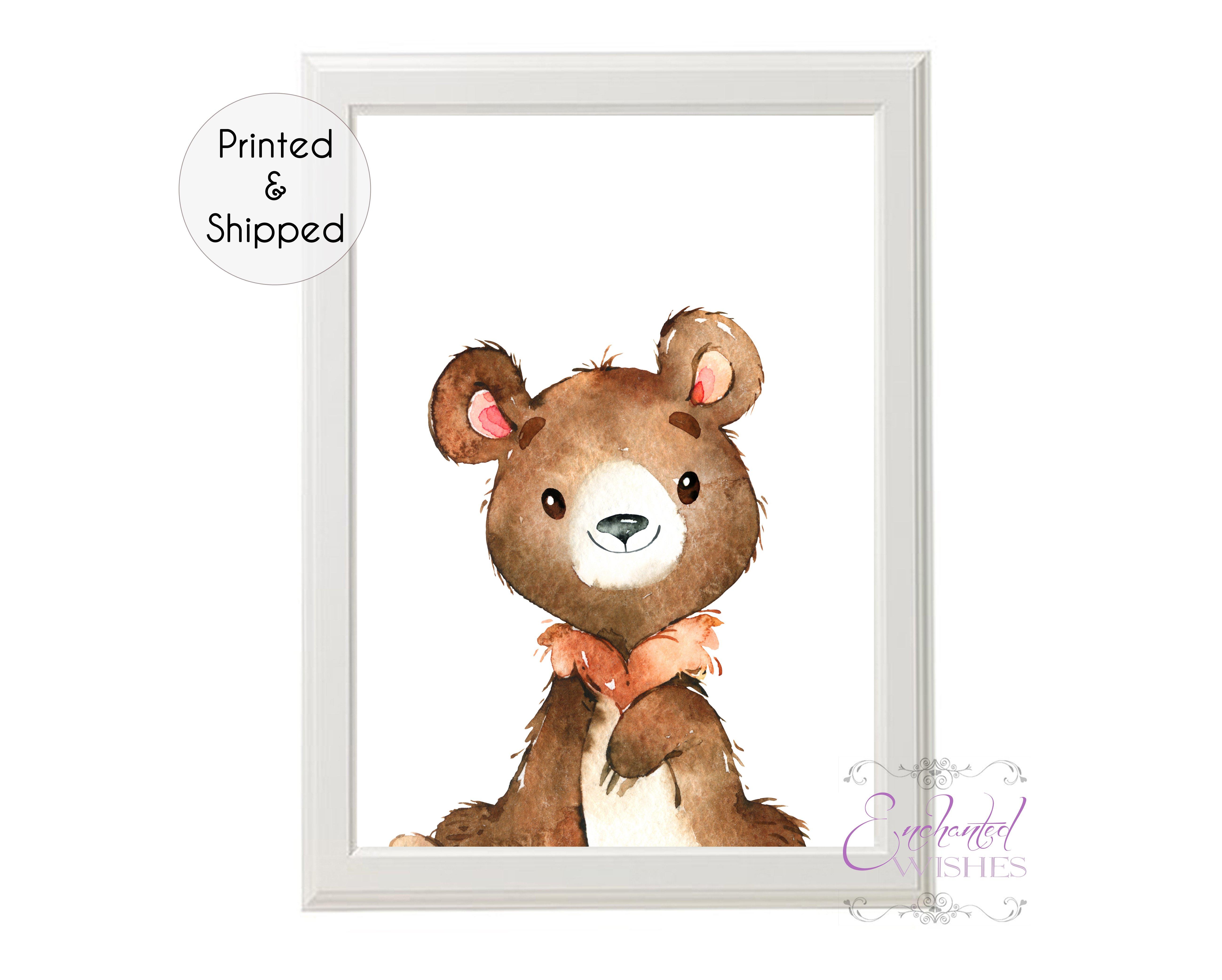 fdf69814770e0 Bear Woodland Animal Nursery Print