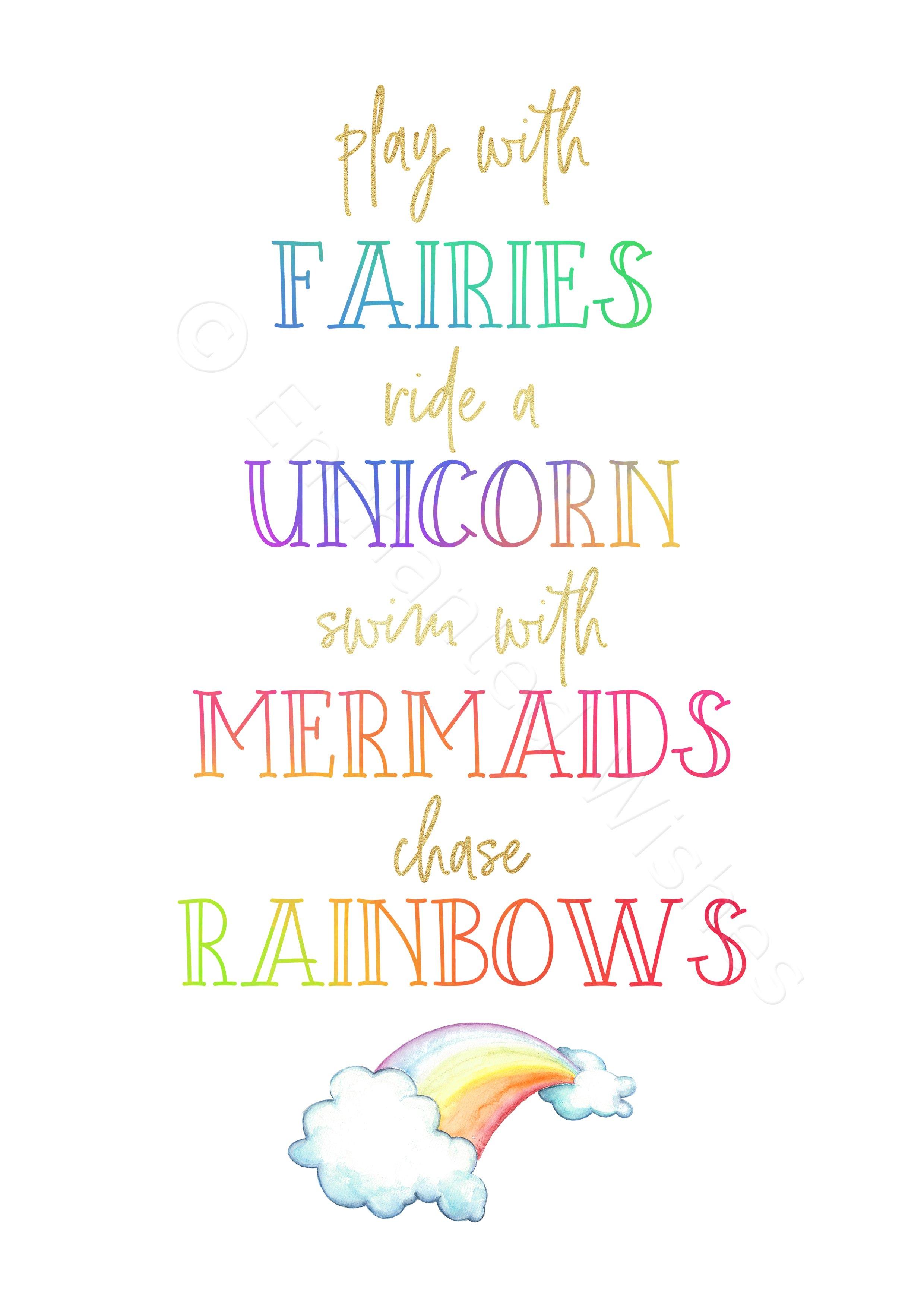 Play With Fairies Prints Set Of 3 Unicorn Mermaid Art