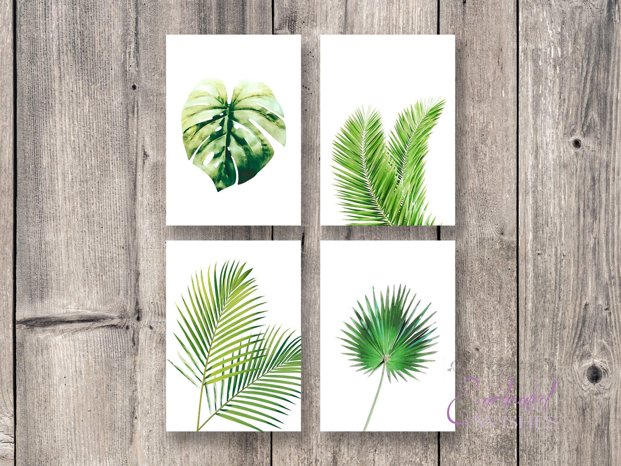 Set Of 4 Tropical Leaf Prints Botanical Plant Wall Art Art Prints Nursery Wall Art Quote Prints Enchanted Wishes