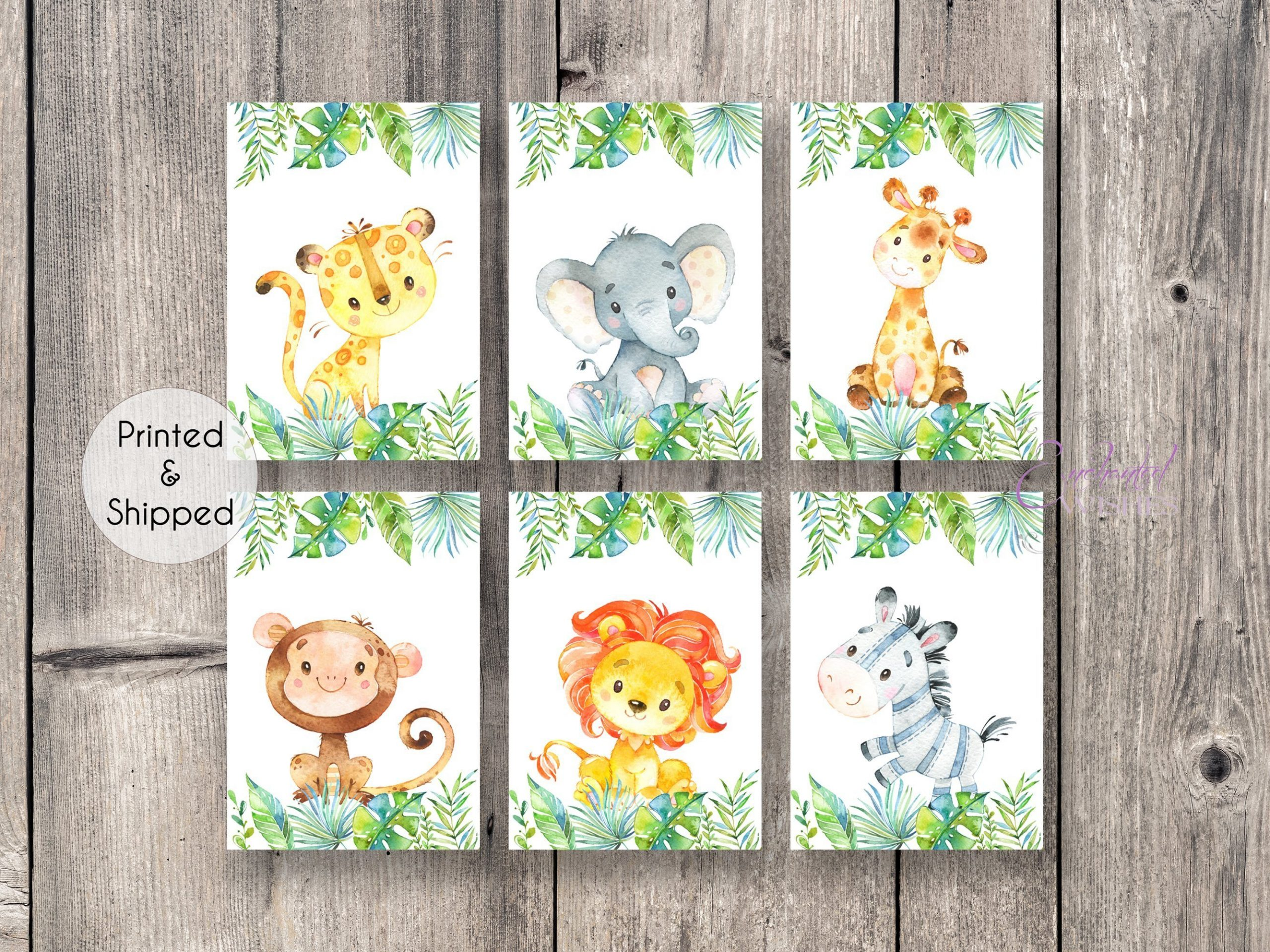Unframed Jungle Animal Nursery Prints Set of 6 Gender Neutral Nursery Wall Art